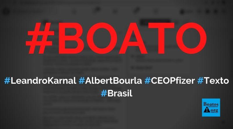 Leandro Karnal escreve texto Ironia do Destino sobre Albert Bourla, CEO da Pfizer, diz boato (Foto: Reprodução/Facebook)
