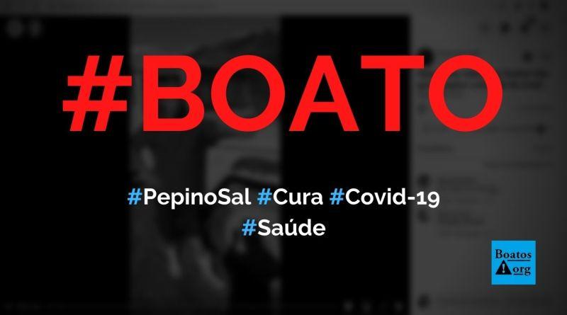 Salada de pepino com sal cura a Covid-19, diz boato (Foto: Reprodução/Facebook)
