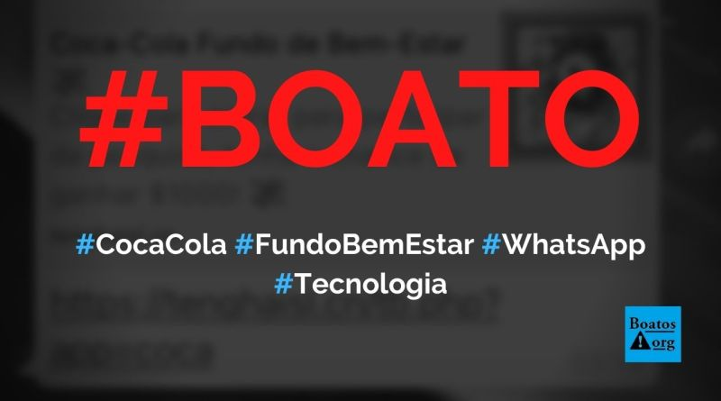 Coca Cola dá fundo de bem-estar para quem compartilhar link no WhatsApp, diz boato (Foto: Reprodução/Facebook)