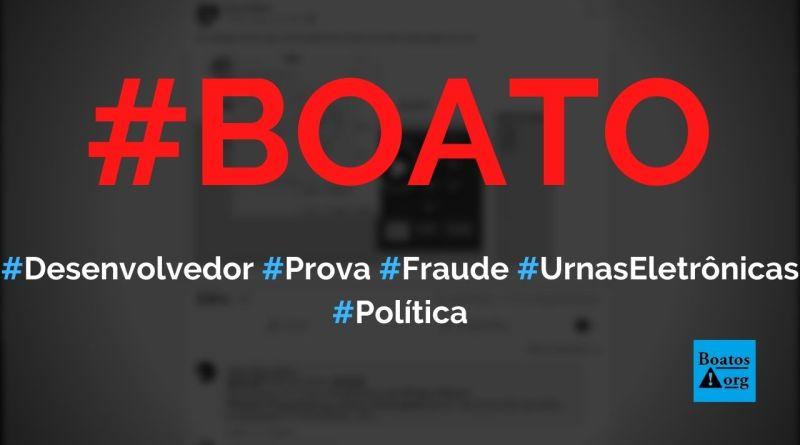 Desenvolvedor prova que há fraude no código-fonte das urnas eletrônicas no Brasil, diz boato (Foto: Reprodução/Facebook)