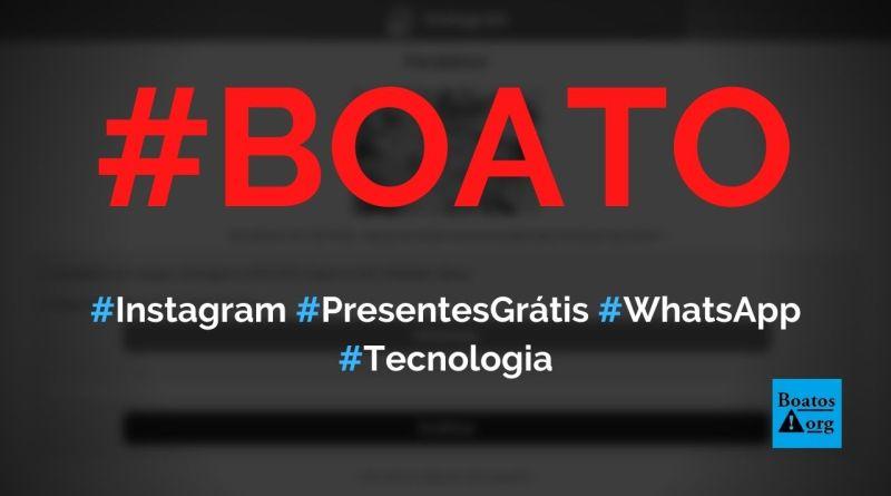 """Instagram dá presentes grátis no WhatsApp em """"atividade de prêmios"""", diz boato (Foto: Reprodução/Facebook)"""