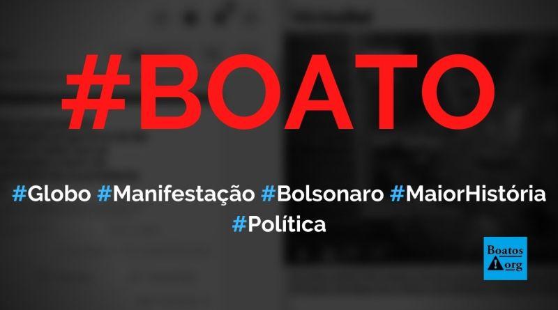 Manifestação pró-Bolsonaro de 1º de maio de 2021 é a maior da história, admite Globo, diz boato (Foto: Reprodução/Facebook)
