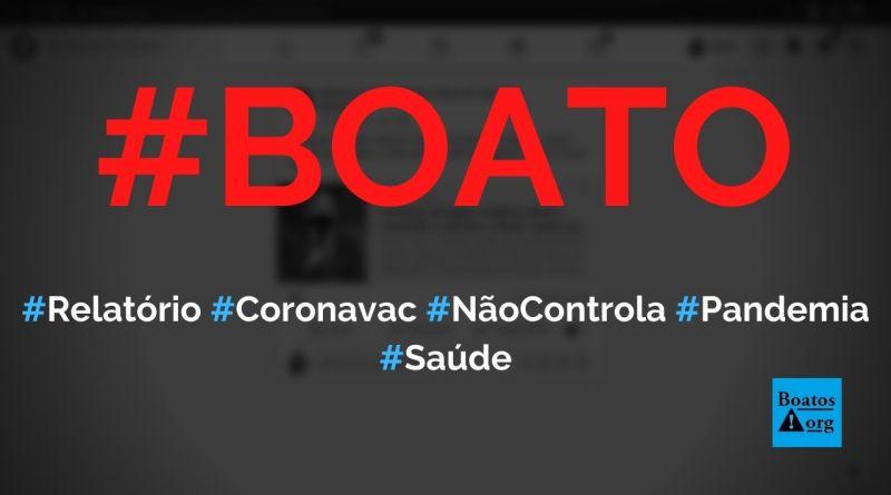 Relatório de alerta ao Brasil aponta que Coronavac não irá controlar pandemia, diz boato (Foto: Reprodução/Facebook)