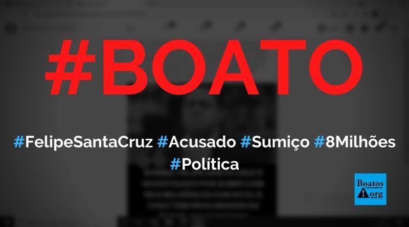 Felipe Santa Cruz, presidente da OAB, é investigado pelo sumiço de R$ 8 milhões, diz boato (Foto: Reprodução/Facebook)