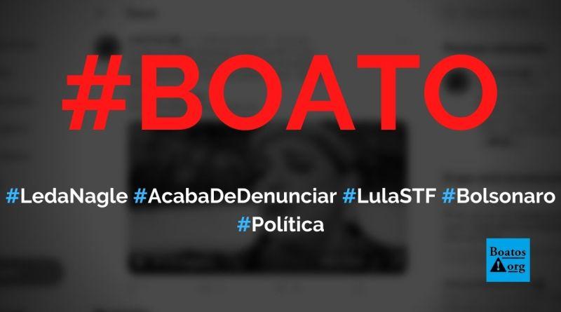 Leda Nagle e diretor da PF acabam de denunciar que ordem para matar Bolsonaro partiu do STF e Lula, diz boato (Foto: Reprodução/Facebook)
