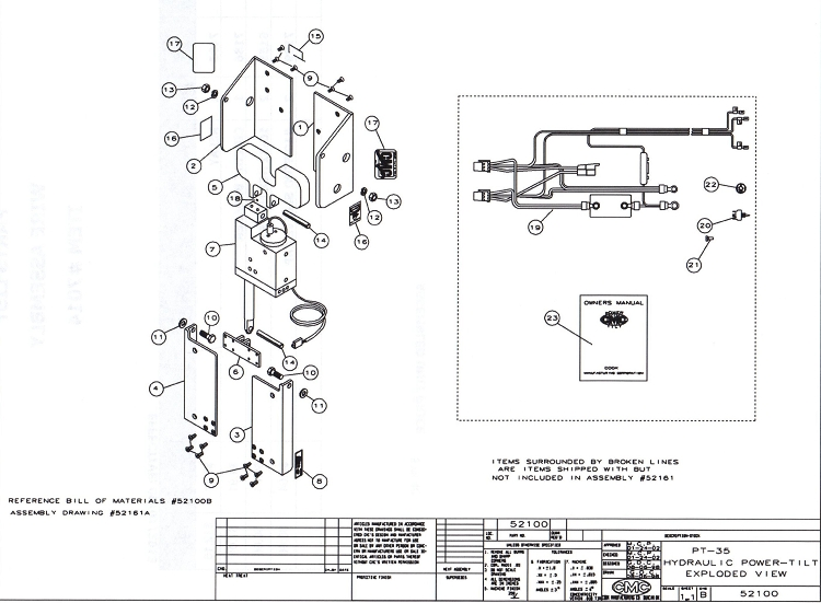 shore power wiring diagram 4 pin relay spotlights cmc pt-35 tilt and trim 52100 replacement parts
