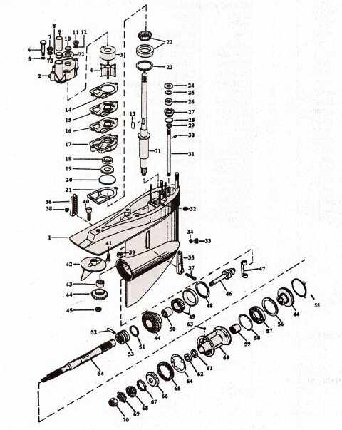 Mercruiser lower gear case parts drawing items 1-5