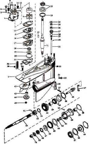 OMC stern drive parts, 400 800 Stringer outdrive drawings