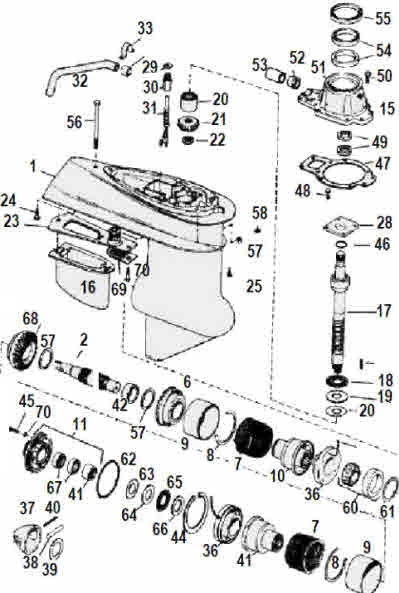 Electric shift lower unit omc parts drawing