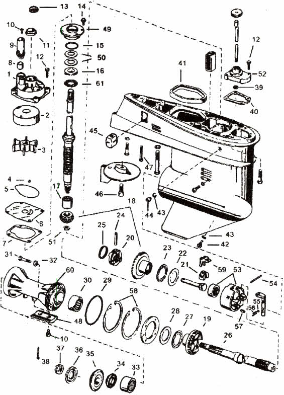 2-3 Cylinder Johnson outboard parts drawing