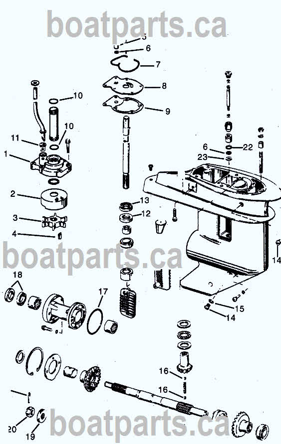 Evinrude 20-35 hp crossflow 1980-2005 drawing