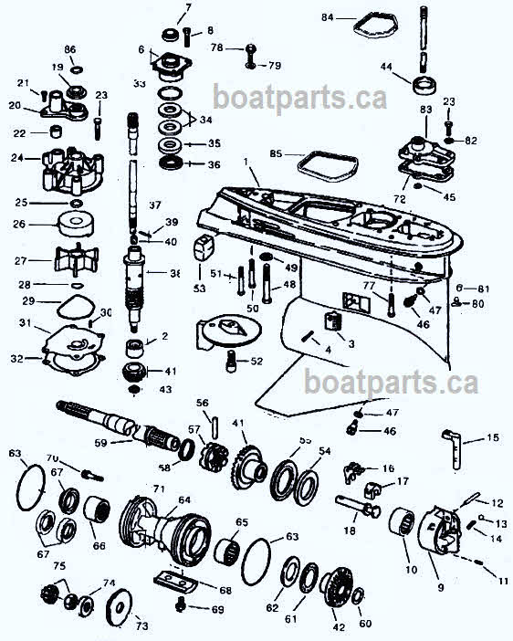 V4-V6 Johnson outboard Type O diagram 1979-2006
