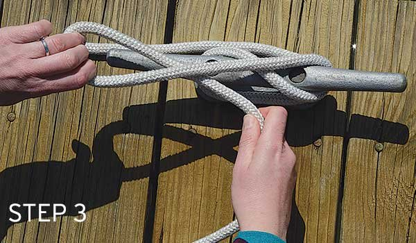 Photo of tying a cleat hitch step 3