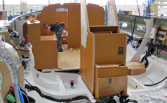 Unfinished interior of boat