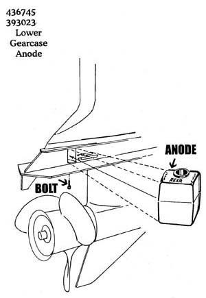393023M OMC Cobra Rear Gearcase Magnesium Anode (436745M)
