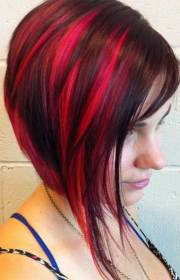red colored bob hairstyle