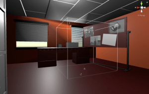 A view of a digitally modeled room for Modus Operandi