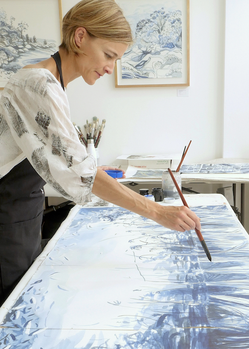 About us, artist Robyn Pedley at work in the studio