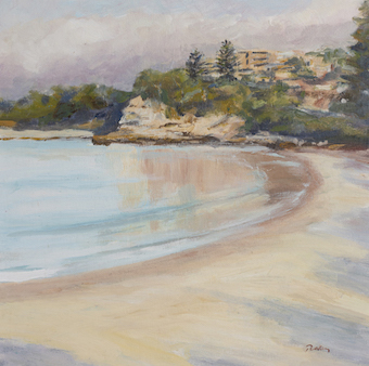 Terrigal Evening - Robyn Pedley, Acrylic on board, 35cm x 35cm, Framed in oak, landscape, beachscape