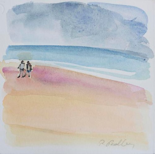 "Summer Fun ""Beach Walk"" - Robyn Pedley 14cm x 14cm, Watercolour on cotton rag, framed in white, Bobbie P Gallery"