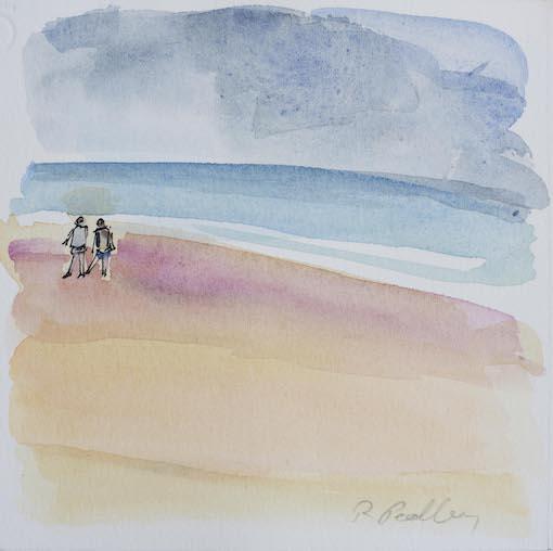 "Summer Fun ""Beach Walk"" - Robyn Pedley 14cm x 14cm, Watercolour on cotton rag, framed in white, Bobbie P Gallery"