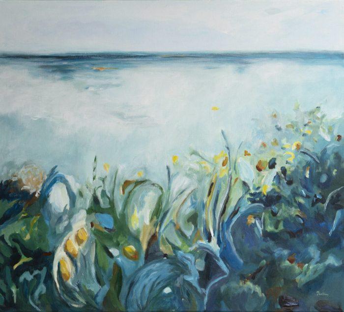 Ocean Garden I - Robyn Pedley, 85cm x 95cm, framed in Oak, Bobbie P Gallery