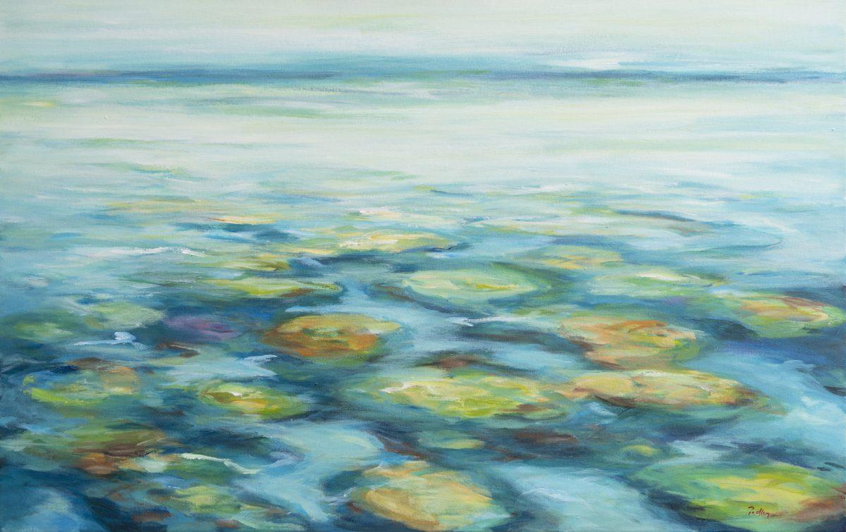 Ocean Tapestries III - Robyn Pedley, 70cm x 110cm, framed in white, Bobbie P Gallery