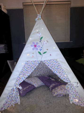 girl teepee bobbins and buttons