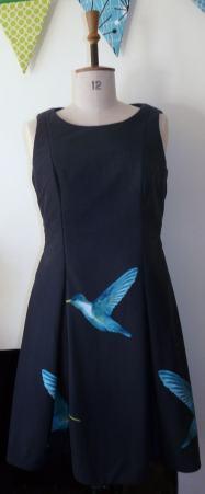 humming bird dress bobbins and buttons