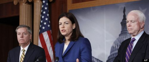 Senators Kelly Ayotte, Lindsey, Graham, and John McCain hold a press conference on Benghazi Dec 21, 2012 (AP Photo/Ann Heisenfelt)