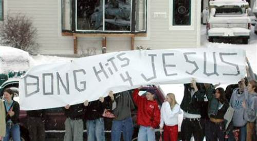 Then-high school student Joseph Frederick and friends in Juneau, Alaska, 2002.  Clay Good/Zuma Press