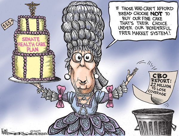 Mitch McConnell dressed as Marie Antoinette holding a cake labelled