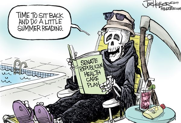 Angel of Death relaxing on the beach holding the Senate Republicans' Trumpcare bill while saying,