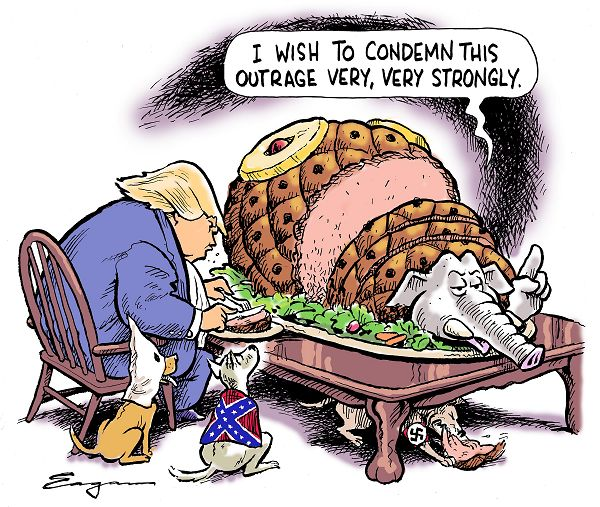 Donald Trump, surrounded by dogs in Nazi, Confederate, and KKK regalia, dining on Republican Elephant as trussed suckling pig, complete with pineapple slice.  Elephant says, weakly,