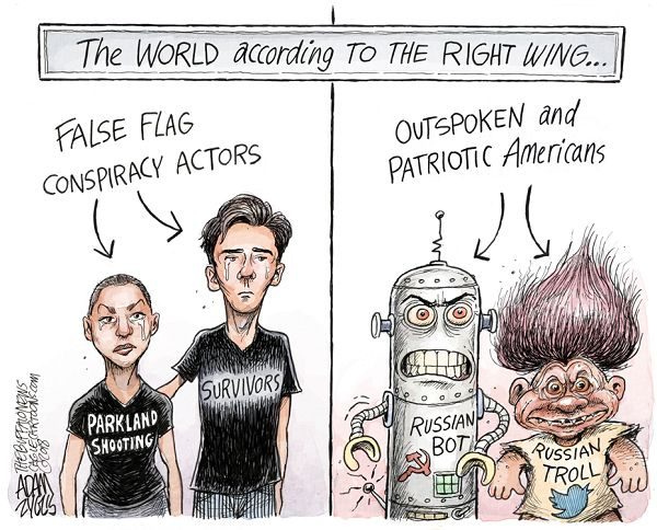 Title:  The World According to the Right Wing.  Image One:  Grieving Parkland High School students labeled,