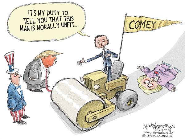 James Comey, riding a steam roller with Hillary Clinton crushed in its wake, gestures toward Donald Trump, saying,