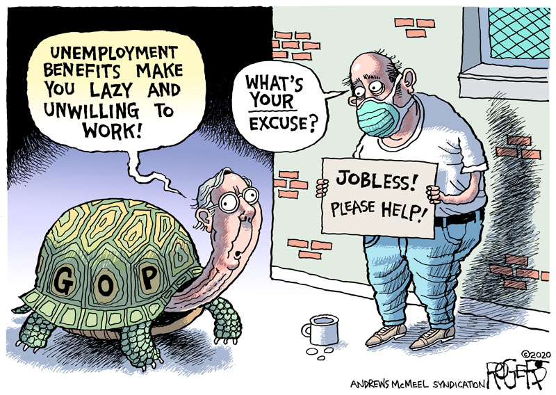 Mitch Miller, as a turtle labeled GOP, sees a man holding a sign reading