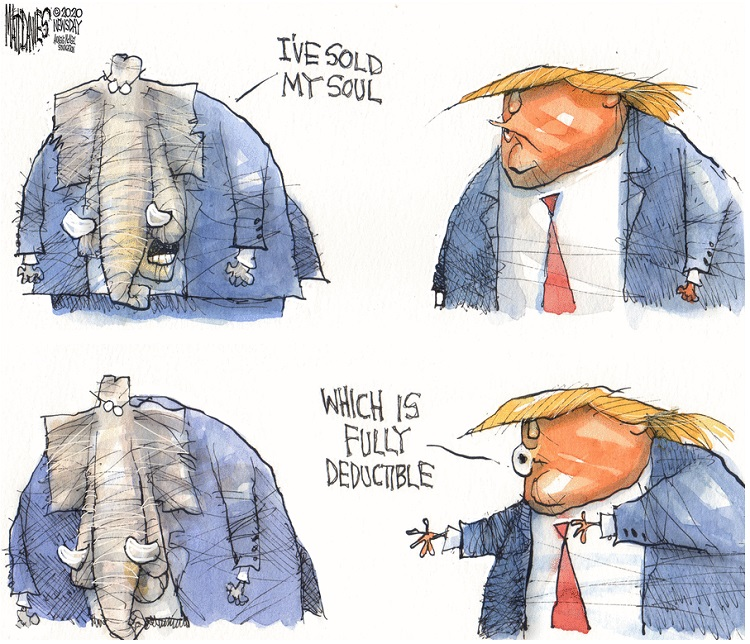 Frame One:  Republican Elephant and Donald Trump.  The Republican Elephant says,