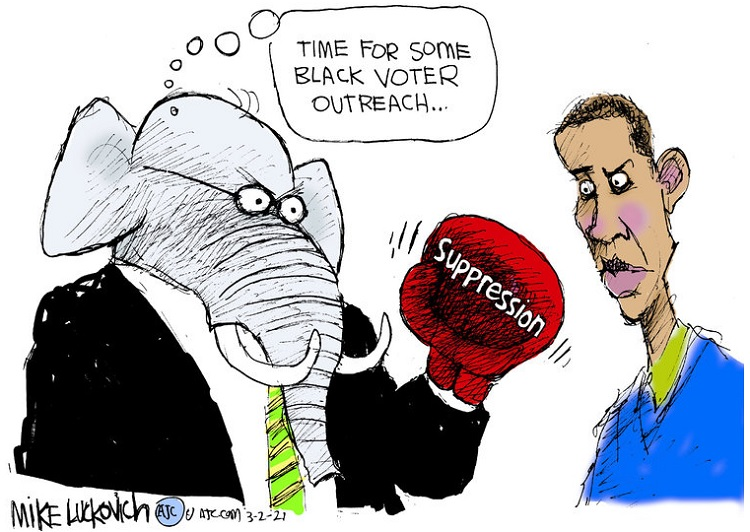 Republican Elephant wearing boxing glove labeled