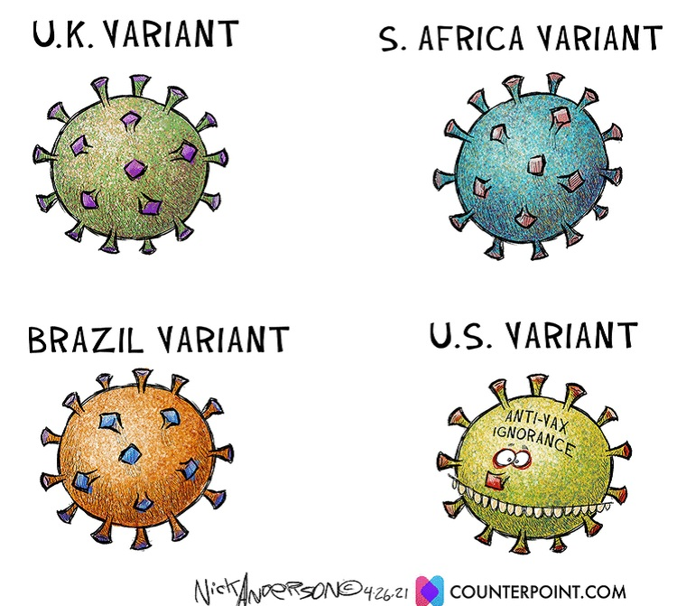 Cartoon lampooning U. S. COVID anti-vaxxers.