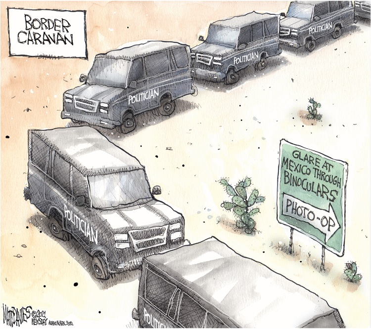 Title:  Border Caravan.  Image:  Row of vehicles labeled