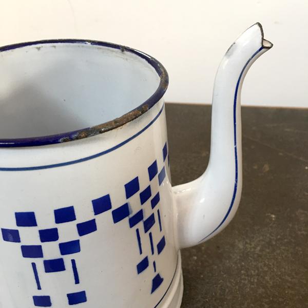 caffettiera in latta smaltata quadretti