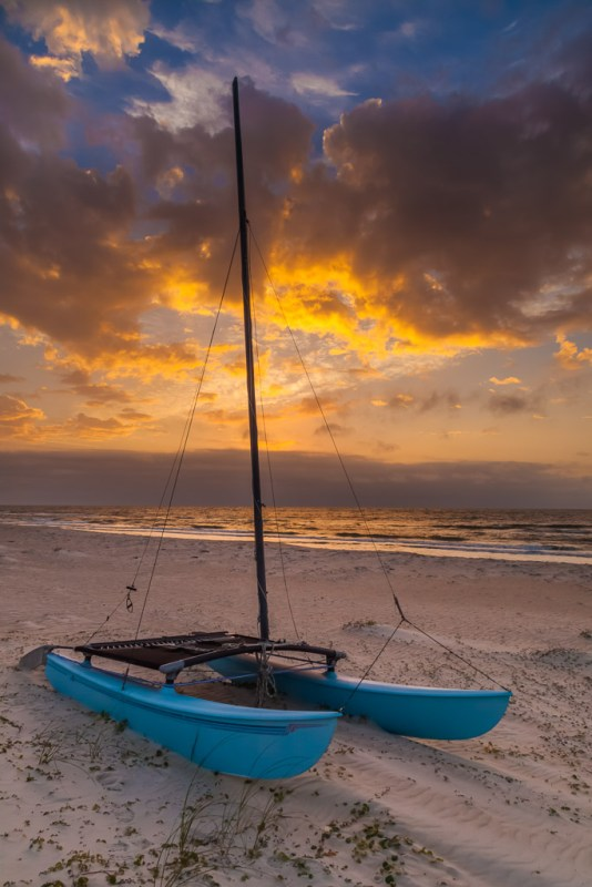 10043. Catamaran on the beach at sunrise, St. George Island, Florida