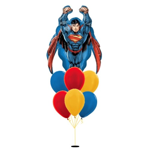 [Superman] Flying Superman Happy Birthday Balloon Bouquet
