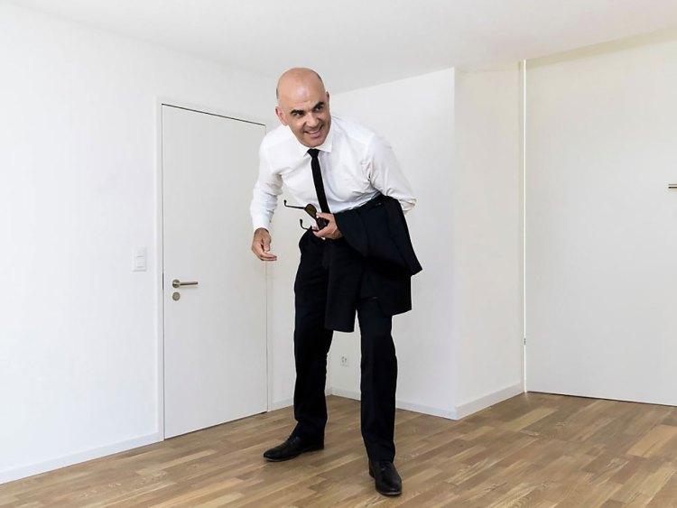 Alain Berset - Presidente della Confederazione svizzera - all'interno del Padiglione Svizzera, Leone d'Oro alla 16.ma Biennale di Architettura di Venezia
