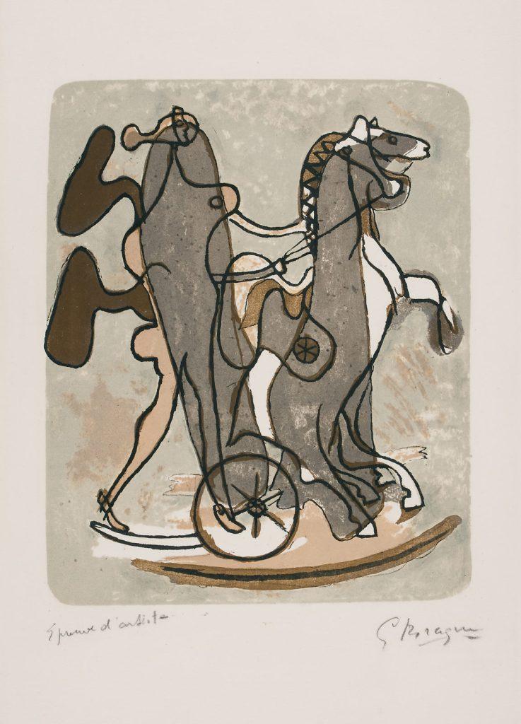 """Georges Braque """"Ateneo"""", 1932 Litografia a colori su carta Arches Prova di stampa, 56,9 x 38 cm Kunstmuseum Pablo Picasso Münster © Georges Braque by SIAE"""