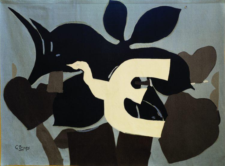 """Georges Braque """"L'Uccello"""", 1962 Arazzo in lana, 200 x 285 cm Henri Dumontet (tessitura) Collezione dell'Ecole Nationale d'Art Décoratif, Deposito dello Stato francese presso la Città internazionale della tappezzeria, Aubusson Aubusson, Cité internationale de la tapisserie Photo credit: E. Roger © Georges Braque by SIAE 2019"""