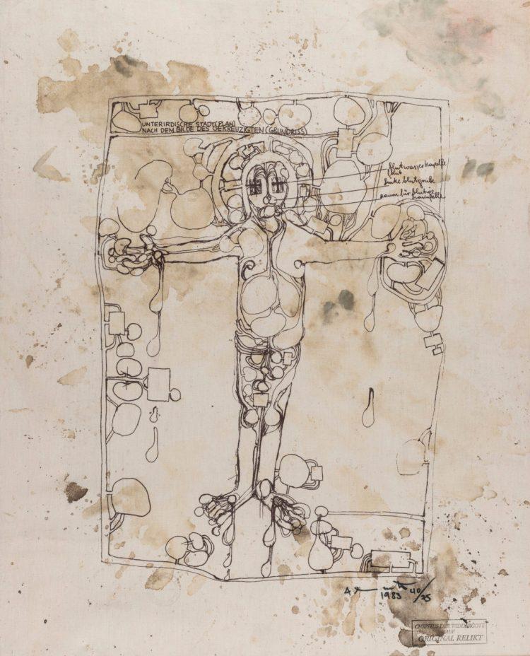 "Hermann Nitsch, ""Christus der Widdergott auf Original Relikt"", tecnica mista e serigrafia su tela, 89 x 72 cm, 1983. Courtesy Boxart, Verona."