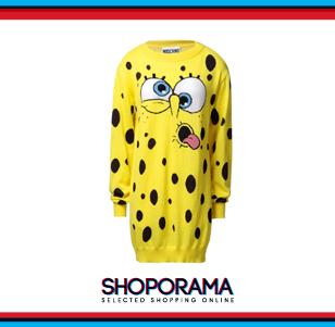 Abito in maglia corto Spongebob, Moschino chiara ferragni shoporama.it bobos.it