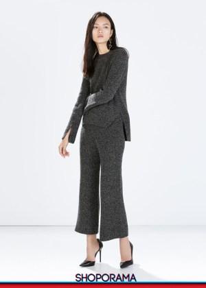 Zara,shoporama.it, coordinato pantaloni campana,lana,tricot,lavorazione coste
